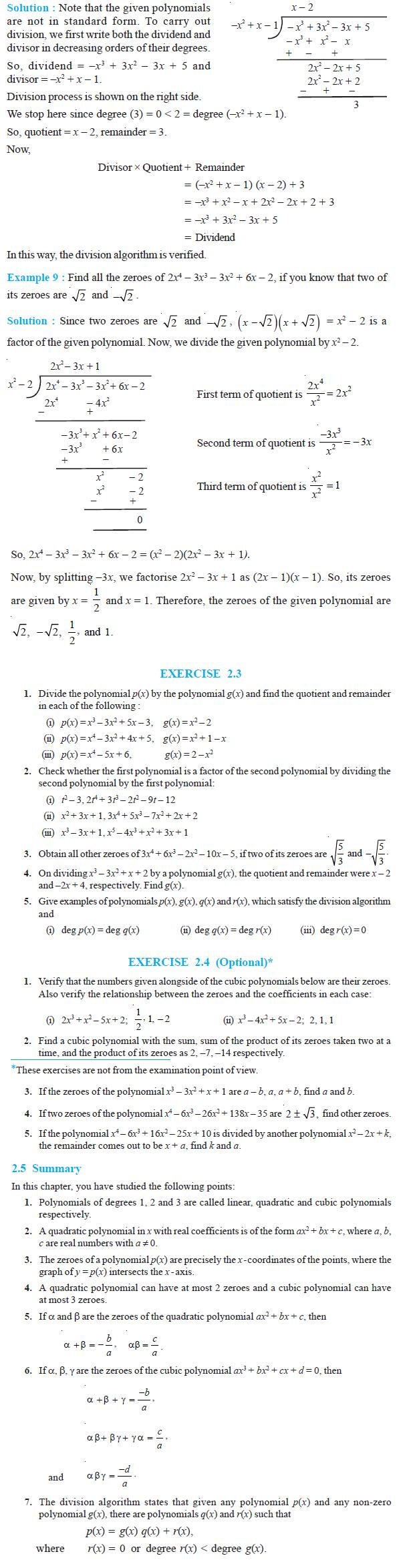 NCERT Class X Maths: Chapter 2 - Polynomials