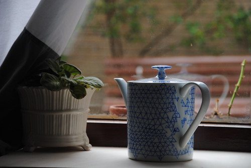 blue-and-white nets | teapot