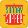 "Close up of a ""Sunday Supper\"" logo."