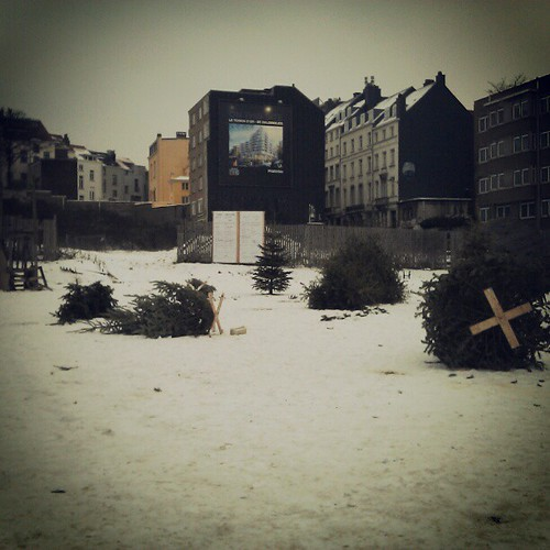 cemetery of xmas trees #brussels #installation #streetart #snow #winter