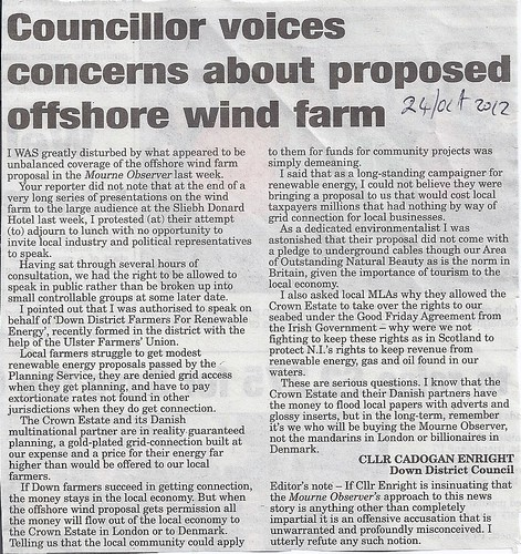 Mourne Observer getting it wrong on proposed windfarm 24th Oct 2011 by CadoganEnright
