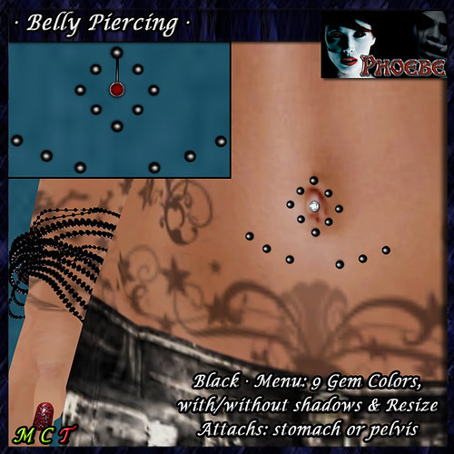 [$50L PROMO] *P* Belly Piercing M3 ~Black-9 Gem Colors~