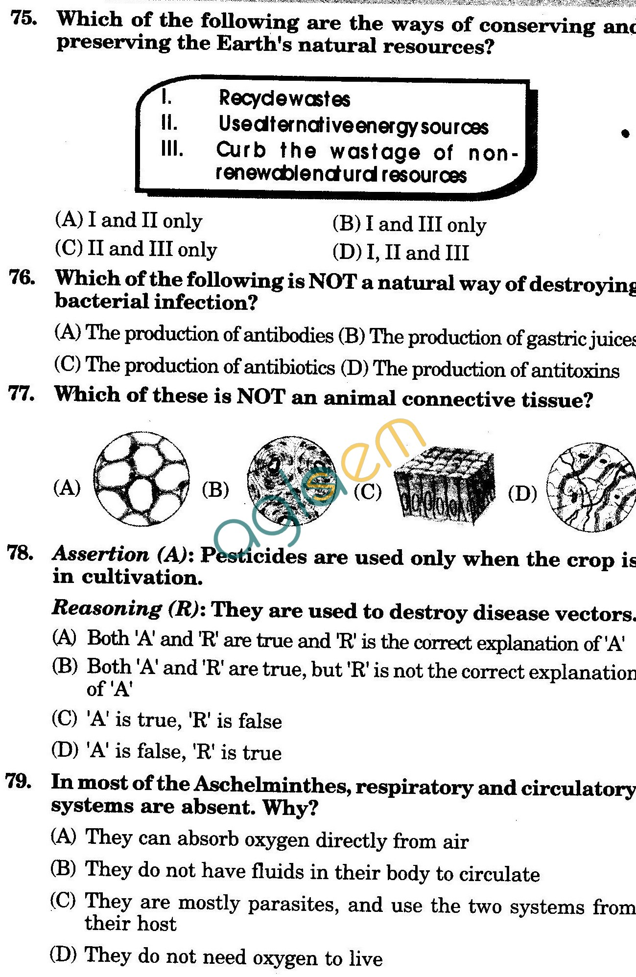 NSTSE 2010: Class IX Question Paper with Answers - Biology