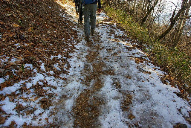 登山道には徐々に凍結箇所があらわれる