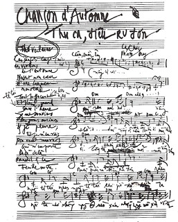 Phạm Duy's manuscript of his song Thu Ca.
