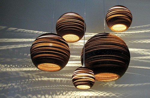 five round pendant lights in various sizes made of cardboard