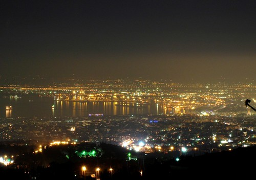 panorama night clear macedonia thessaloniki salonica thermaikos selanik solun salonico