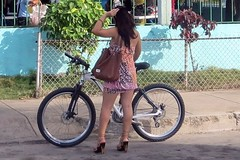 Bicycling in four-inch heels