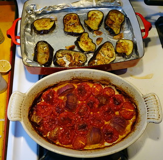 roasted eggplant and tomatoes