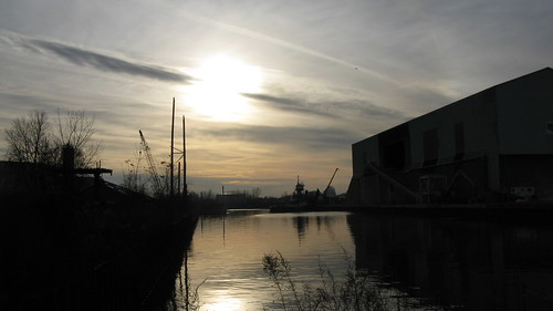 Sunset on the Little Calumet River channel.  Hammond Indiana.  Sunday, November 25th, 2012. by Eddie from Chicago