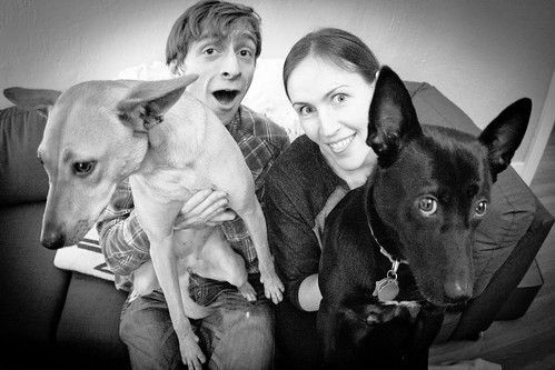 Drew and Claire with the Dogs