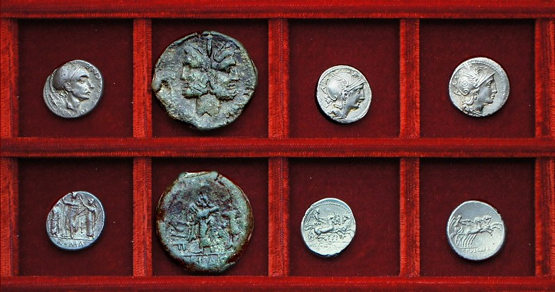 RRC 296 CN.BLASIO CN.F Cornelia denarius, as, RRC 299  AP.CL T.MAL Q.VR Claudia, RRC 300 C.PVLCHER Claudia, Ahala collection, coins of the Roman Republic
