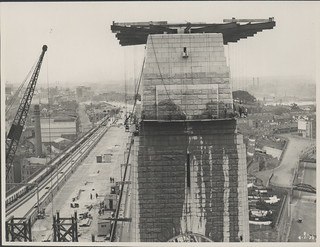 Southern pylon of the Harbour Bridge being washed, 1932