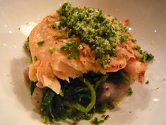 Trout with alexanders and olive gnocchi