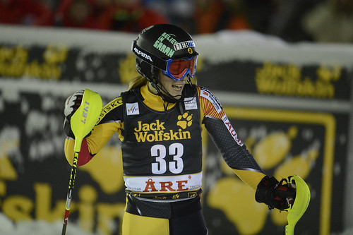 Brittany Phelan pleased with her second slalom run in Are, Sweden.