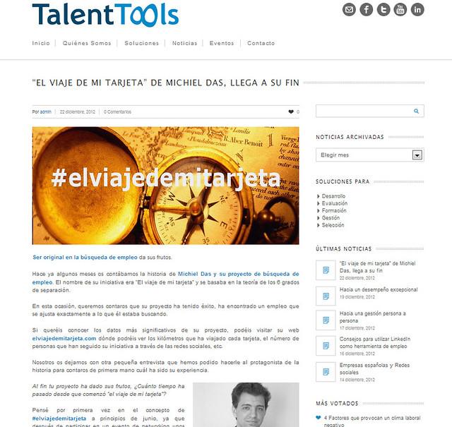 Entrevista en la página de Talent Tools (22.12.2012) - castellano