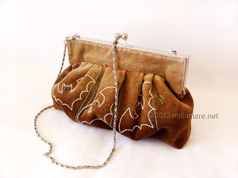 Brown velvet clutch bag with bat hand embroidery and purse frame chain handle