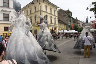 Whirling street performers