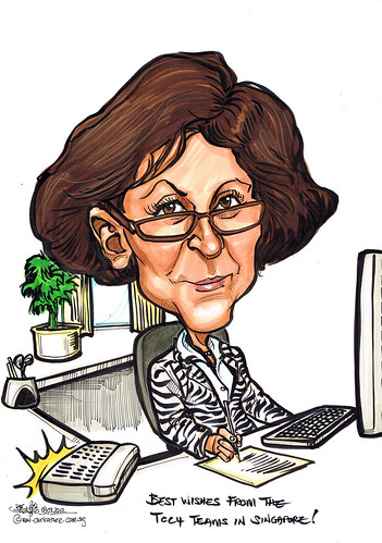 Office theme retiring farewell caricature