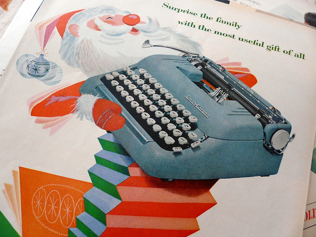 Portable Smith Corona Typewriter, Santa Claus magazine ad, 1960s