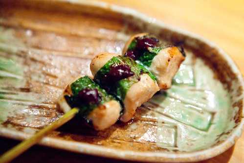 Chicken breast meat with plum & shiso