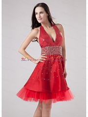 fashionable red halter prom dress