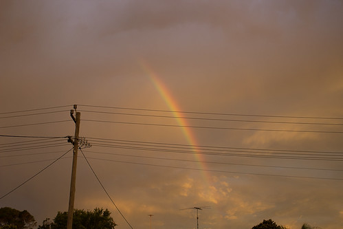 Sunset and rainbow