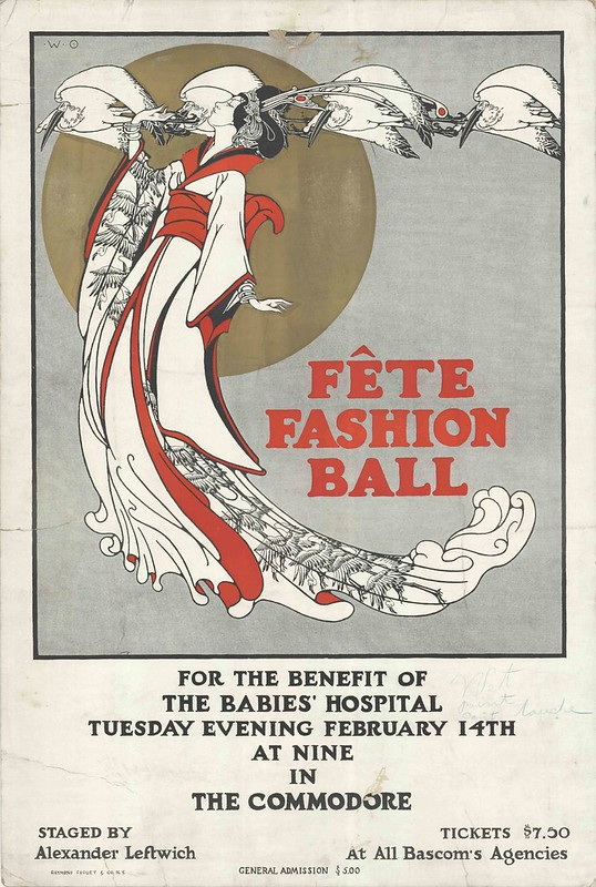 advert poster for ball with Japanese woman illustrated in long stylised flowing gown