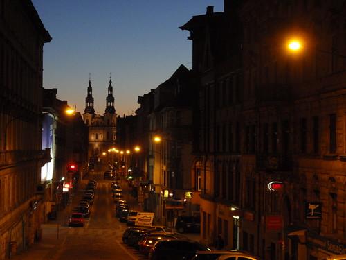 street city church night sunrise lights poland polska noc poznan miasto ulica światła długa jutrzenka
