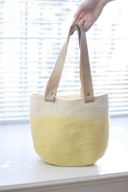 rope bag with leather handles