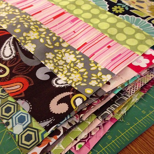 12 sets of strips ready for me to finish up my #scrappytripalong blocks!!