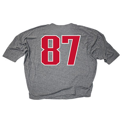 "Rob Gronkowski #87 ""Gronk!"" Grey Women's Tri-Blend Boat Neck Dolman Sleeve T-shirt Back"