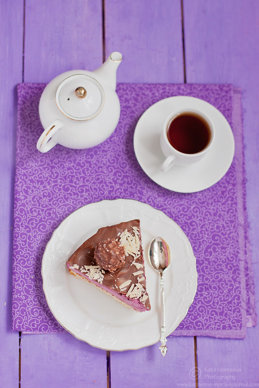 Cake with blackcurrant mousse, decorated with chocolate