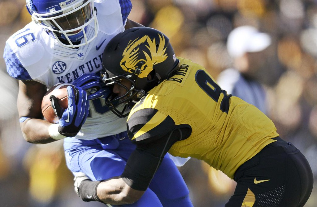 Jaime Henry-White/Missourian  MU safety Braylon Webb tackles Kentucky wide receiver La'Rod King during the first quarter of the MU football game against the University of Kentucky on Saturday, Oct. 27, 2012 at Faurot Field