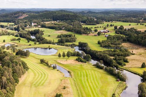 sverige swe västragötaland golfbana klev ätran flygfoto mårdaklev