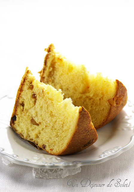 Slices of homemade panettone