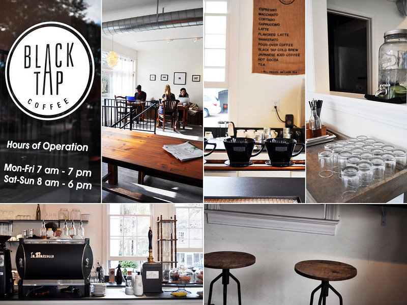 ... Black Tap Coffee Has Clean, Minimalist Interiors    {2,6} White Walls  With Dark Mahogany Tables, Benches, Stools, Chairs. Most Of The Furniture  Was ...