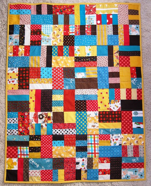 loud baby quilt - yellow, red, aqua, brown