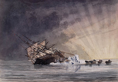 Dessin illustrant la position du HMS Terror au lever du soleil le 14 juillet 1837 / Sketch illustrating the position of HMS Terror at sunrise, July 14, 1837