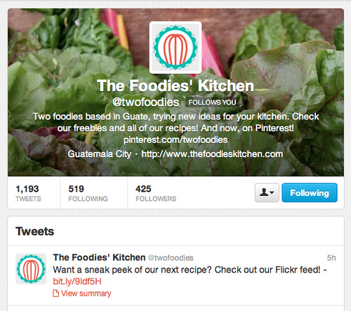 The Foodies' Kitchen New Look Twitter