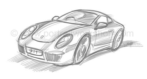 porsche 911 sketch style proposal 1 (watermarked)