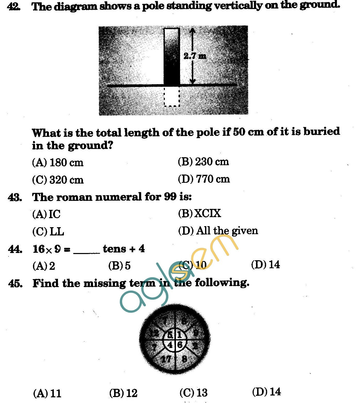 NSTSE 2009 Class IV Question Paper with Answers - Mathematics