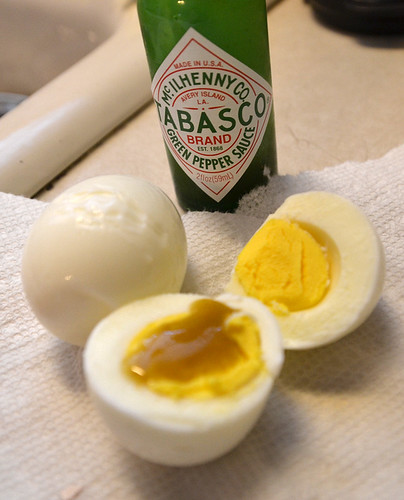 Hot sauce and hard-boiled eggs