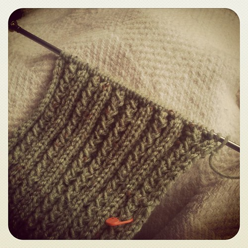 Fixed the pattern and the scarf is flying along. #etsy #knitting