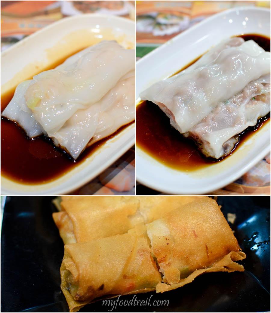 Tim Ho Wan, Mongkok, Hong Kong - Prawn rice rolls, char siew rice rolls, spring rolls