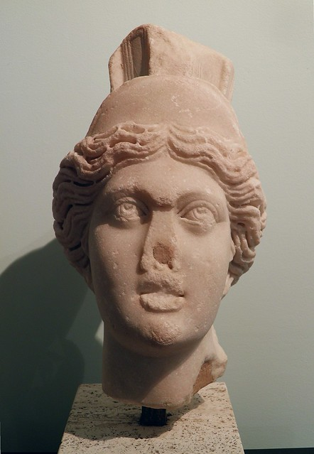 Ancient Roman busts. Head of a Roman copy after the Antiochia Tyche, 2nd century AD, Civico museo archeologico di Milano