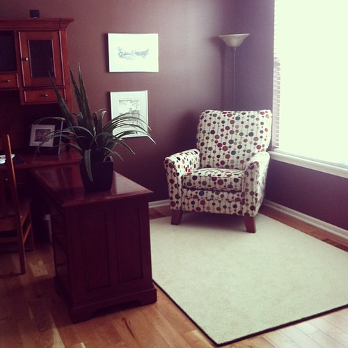 The office, after.  This room is getting a second polka dotted chair in a week.  And a table between the two chaos when I find the right one.
