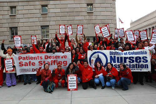 DC RNs celebrate introduction of bill outside John A. Wilson building in Washington