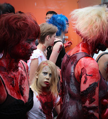 clothing, red, zombie, lady, costume,