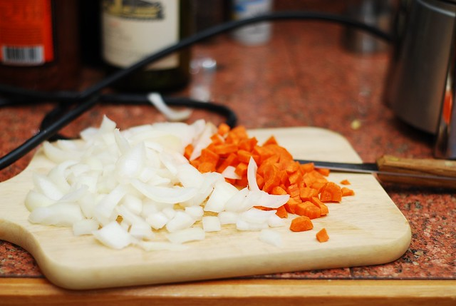 chopped onions and carrots